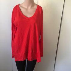 AJ Andrea Jovine Red Tunic Large Supima Cotton Lagenlook Top Blouse women's new  | eBay