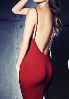Shop Spaghetti Strap Backless Bodycon Red Dress at ROMWE, discover more fashion styles online. Sexy Dresses, Cute Dresses, Beautiful Dresses, Casual Dresses, Fashion Dresses, Amazing Dresses, Beach Dresses, Cheap Dresses, Elegant Dresses
