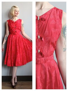 1950s Dress // With all my Heart Dress // by dethrosevintage
