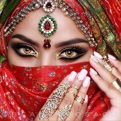 58 Trendy hair color miel make up Arabian Eyes, Arabian Makeup, Arabian Beauty, Indian Makeup, Indian Beauty, Bridal Makeup, Wedding Makeup, Exotic Beauties, Winged Liner