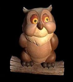 "Rare 8.5x7"" Large BAMBI Perched OWL DISNEY Plastic Lawn Ornament Statue Figurine"