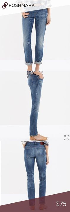 NWOT Madewell Slim Boyfriend Jean New without tags. These were never worn.  Boyfriend style so they do have a slouchy fit.  Rise: 9 inches.  Unrolled Inseam: 30 (but these are meant to be rolled up).  98% Cotton, 2% Spandex so they do have a little stretch. Madewell Jeans Boyfriend