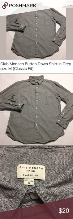 """CLUB MONACO long sleeve button up in gray size- M CLUB MONACO classic fit long sleeve button up in gray. Has a nice pattern to it but I don't know what it's called. See close up pictures. No rips, holes or stains. Laundered, clean and ready to ship.  • 100% Cotton. • Chest Pockets. • Locker loop. Size on tag: M 21"""" from armpit to armpit 24"""" from shoulder to cuff 28.5"""" from collar to hem (measured from the bottom of the collar in the back) Club Monaco Shirts Casual Button Down Shirts"""