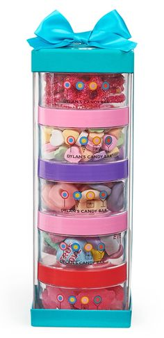These yummy treats stacked in round bins are a fun gift for the kids. The perfect thing to satisfy everyone's sweet tooth!