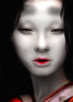 Japanese-Chinese model Rowena Xi Kang, digitally enhanced with Heian makeup.