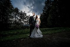 Matt Shumate Photography Seattle farm house dramatic bride and groom wedding portrait on personal property at night