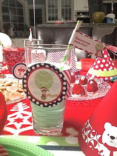 Elf Milk: A splash of green food coloring. The kids also got a kick out of the Elf joke flags, which are a part of the Elf Arrival Party Kit: https://www.etsy.com/listing/168372618/elf-arrival-party-kit-a-printable-kit?ref=shop_home_active My oldest was even cracking up when he learned what you call a snowman in the summer........ a puddle! HeHeHe.   #elfontheshelfideas #holidayelf #printable #elfkit #paperramma #elfguru #christmaself #northpolebrekfast #guide #elfguide #elfkit #printable
