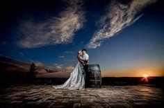 Matt Shumate Photography  Bride & Groom dramatic sunset portrait at arbor crest winery