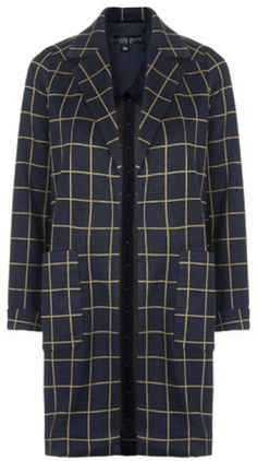 4ce9733a679 TOPSHOP - Blue Petite Checked Print Jersey Coat - Lyst
