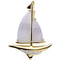 """14K Yellow Gold Blue Chalcedony and Diamond Sailboat Brooch/Pendant Gems-is-Me. $778.20. This item will be gift wrapped in a beautiful gift bag. In addition, a """"gift message"""" can be added.. Free Priority Shipping.. Save 40%!"""