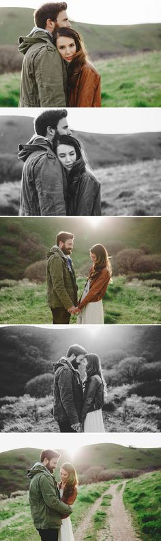 Autumn engagement session outfit ideas. Still too cold to leave the coat behind? I love how her leather jacket compliments the dress she is wearing.