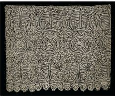 Bobbin lace, 1884, from the Ore Mountains on the border of Germany and Czech Republic (back then, Saxony and Bohemia), V I find it remarkably similar to the ornaments of the Australian Aborigines.