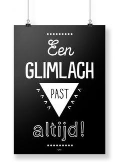 A4 poster met de quote: Een glimlach past altijd! Je shopt 'm hier: http://www.bybean.nl/10254165/poster-een-glimlach-past-altijd