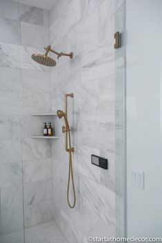 Master Bathroom Reveal | Start at Home Decor | Brizo Shower heads | Marble shower Dream Master Bedroom, Master Suite, Master Bathroom, Freestanding Tub Filler, Quarter Sawn White Oak, Neutral Kitchen, Floating Vanity, Hanging Light Fixtures