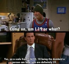 """Yes, on a scale from 1 to 10, 10 being the dumbest a person can look, you are definitely 19."" -Chandler"