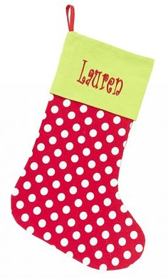 Personalized Red Polka Dot Christmas Stocking http://www.thepreppypair.com/Red-Dot-Christmas-Stocking_p_352.html