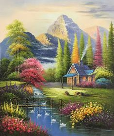 35 Ideas painting ideas oil simple for 2019 Watercolor Landscape, Landscape Art, Landscape Paintings, Watercolor Art, Beautiful Landscape Wallpaper, Beautiful Landscapes, Nature Paintings, Beautiful Paintings, Nature Pictures