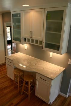 BKC Kitchen and Bath kitchen remodel: Medallion Cabinetry, Potters Mill door style, White Icing on Maple