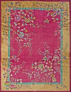 "#176 Chinese Art Deco carpet  9'0"" x 11'8""  circa 1920"