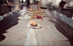 book page table runner....over burlap it's REALLY great!...could do this with sheet music!