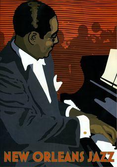 Vintage New Orleans Jazz Poster