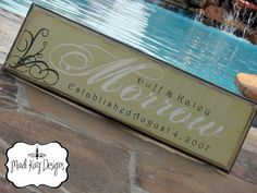 """Personalized Custom Family Name or Wedding Sign 8x24 with established date """"Morrow"""". $54.99, via Etsy."""