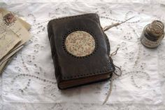 Poetica - Dark Brown Leather Journal, Vintage Floral Fabric, Tea Stained Pages - OOAK
