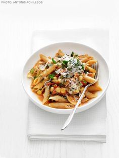 Whole-Grain Pasta with Chickpeas and Escarole: This whole wheat pasta dish makes a hearty meatless meal.