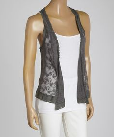 Look at this Freshmint Gray Lace Racerback Open Vest on #zulily today!