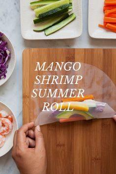 MANGO SHRIMP SUMMER ROLL 1 avocado mango 1 cucumber peel carrots 1 cup of purple cabbage 18 cooked shrimp (deveined and tails off) spring roll skins Seafood Dishes, Seafood Recipes, Cooking Recipes, Think Food, Love Food, Healthy Snacks, Healthy Eating, Healthy Recipes, Office Food