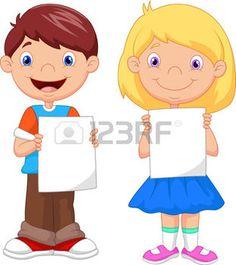 chicos y chicas: Poco Caricatura de niños que sostiene el papel en blanco