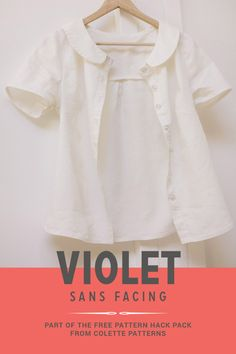 Make the Violet pattern with a placket instead of a facing! Free downloadable instructions in the Colette Patterns Pattern Hack Pack