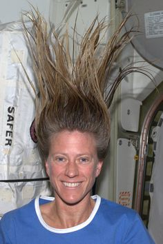 More space fun... Would take a lot of hair gel to pull off the Troll doll look on earth! KN from space.