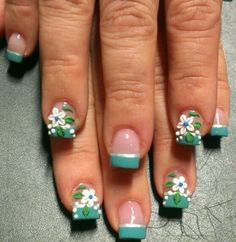 Acrylic nails by Eneidy- cute for summer but I would only do design in ring finger nail