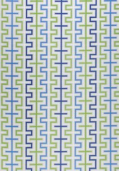 ZIPPER, Marine Blue and Kiwi, W80334, Collection Calypso from Thibaut