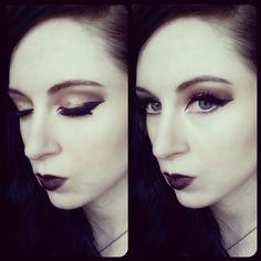 Bold make-up today. Dark sunset eyes (Rose Gold and Amber) and black lips <3  #Gothic #Bold #MakeUp #Girl #Eyeliner #Lashes