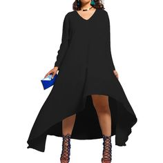 Black V Neck Long Sleeve Asymmetric Hem Plus Size Dress ($32) ❤ liked on Polyvore featuring dresses, long sleeve v neck dress, long sleeve dress, long black dress, plus size long sleeve dresses and v neck dress
