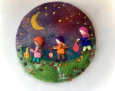 Linterna a pie tapiz pintura cuadro de lana húmedo por FilzArts