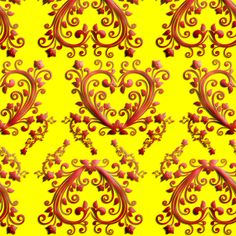Floral Hearts Seamless Pattern Yellow by stradling_designs, click to purchase fabric