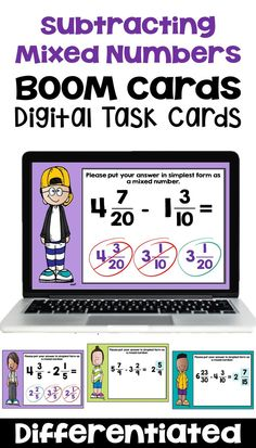 These fraction BOOM cards are differentiated and cover subtracting mixed numbers with like and unlike denominators.  Digital Task cards are great practice for your 4th grade, 5th grade, 6th grade or upper elementary students.  They are common core aligned. This fun product would be great for math centers, small groups, early finishers, or sub plans in your classroom. Elementary Math, Upper Elementary, Math Resources, Math Activities, Singapore Math, Fourth Grade Math, Early Finishers, Interactive Learning, Math Notebooks