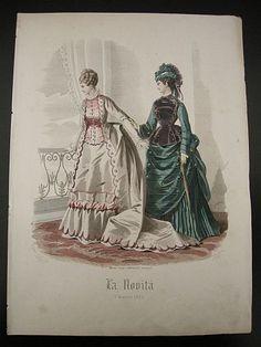 """Gonin G. - Gandini - Incisione a colori tratta da """"La novità. Giornale illustrato delle mode e dei lavori femminili. 6 Marzo 1873"""". 1873. Moda - Abbigliamento - Abiti - Cappelli - Rivista -  -  -"""