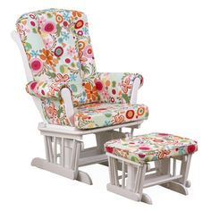 Cotton Tale Lizzie Colorful Floral Glider with Ottoman & Reviews | Wayfair