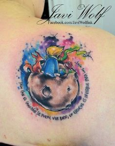 "This lady tattooed a very nice and strong thought from the book ""The Little Prince"": "" The heart can see well, what is most important can not be seen with the naked eye. """