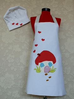 chef cap oven glove and double sided apron