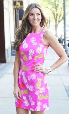 Pineapple Dress   Ally B $54.00  One of our favorite prints now now comes in a dress! This vibrant dress is figure flattering and comes with a neon zipper down the back
