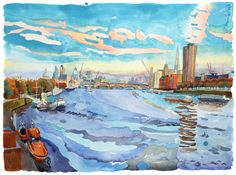The Thames at Dusk, Autumn by Abigail McDougall