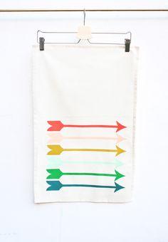Sharp shooter - bright rainbow, hand printed mid-century, decorative kitchen towel, arrow tea towel