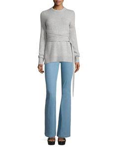 Wrap-Belt+Cashmere+Sweater+&+Mid-Rise+Flare-Leg+Contour+Jeans+by+Michael+Kors+Collection+at+Neiman+Marcus.