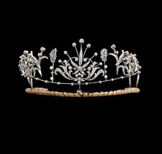 Diamond tiara, second half 19th century. Set in silver and gold. Part of a suite/set.