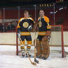 Old School Boston · Bobby Orr & Eddie Johnston. Hockey Goalie, Hockey Games, Hockey Players, Ice Hockey, Boston Bruins Logo, Boston Bruins Goalies, Nhl Wallpaper, Hockey Pictures, Bobby Orr